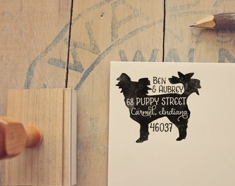 Chihuahua Return Address Stamp, Housewarming & Dog Lover Gift, Personalized Rubber Stamp, Wood Handle