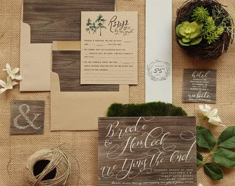 Rustic Wedding Invitation Set - Wood & Kraft Wedding Invite Suite for a Country Barn Wedding - Printable - Printed