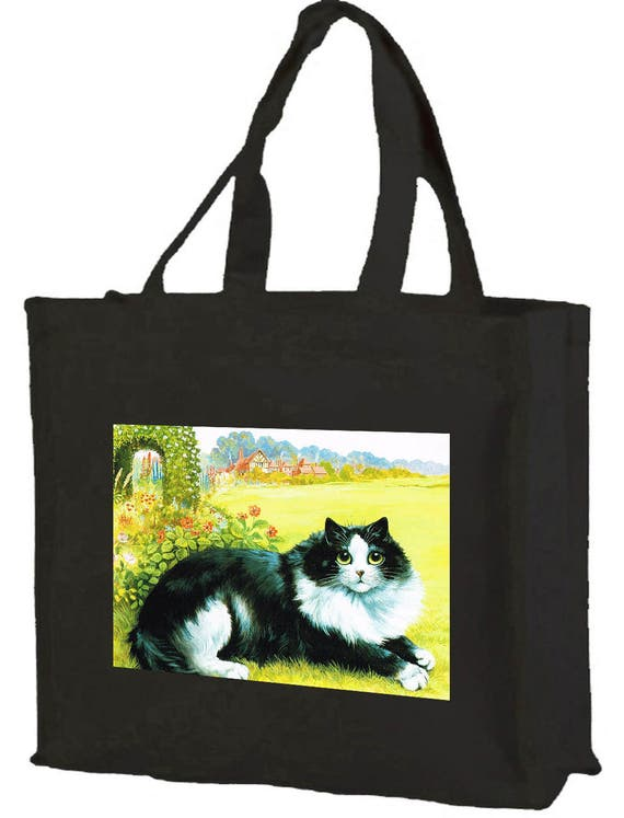 Louis Wain Black & White Cat Cotton Shopping Bag with gusset and long handles, 3 colour options