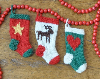 Heart, Reindeer and Star Set of 3 Hand-Knit Christmas Stocking Ornaments