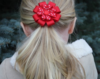 Red & Green Hair Bow Set - Christmas Bow Set - Christmas Hair Accessories - Christmas Hair Clip - Holiday Bow Set - Green Hair Bow