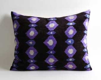 purple velvet pillow, velvet pillow cover, purple ikat pillow, decorative pillow, purple pillow, ikat pillows, velvet ikat pillow