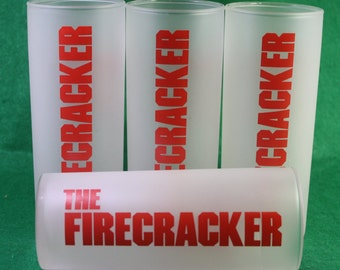 """Vintage Set of (4) Seagram /Ocean Spray frosted cocktail """"Fire Cracker""""  recipe highball  Glass by Libby - Breweriana"""