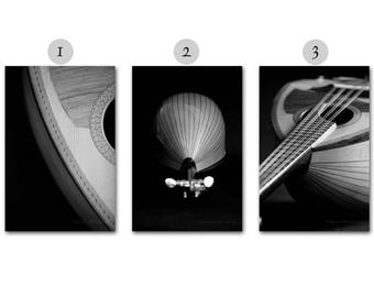 Black and White Music Photography, Musical Instrument Print Set, Mandolin Photo Set, Stringed Instrument Photos Contemporary Fine Art Prints