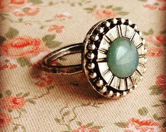 Vintage silver ring with andine opal
