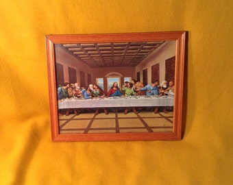 "Last Supper Picture with Wooden Frame - Christian Lithograph - 11"" by 9"""