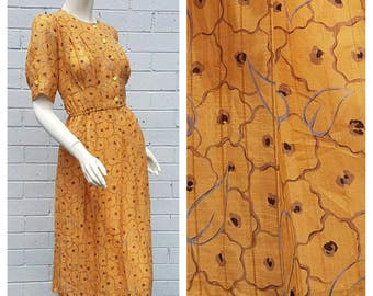 Vintage Japanese 1980s Mustard Abstract Floral Print Button Front Tuck Semi Sheer Bodice Pleat Skirt Midi Dress Large
