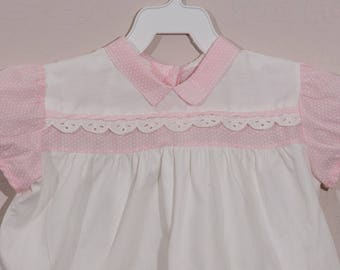 18 mo: Vintage Baby Girl Diaper Set, 1960's Dress and Diaper Cover