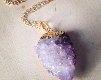 Purple Aura Cactus Point Pendant Necklace: Spirit Quartz, Aqua Aura Pendant, Crystal, Purple Aura Cluster, Spirit Quartz, Cactus Quartz