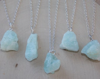 Aquamarine Necklace: Raw Aquamarine Necklace, Aquamarine Jewelry, March Birthstone, Raw Uncut Aquamarine, Gemstone, Raw Aquamarine, Raw Gem
