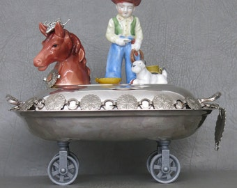 """Cowboy Assemblage.  One of a kind southwest assemblage sculpture, """"Copper Country Cowboy.""""  Cowboy on horse with dog and mini accessories."""