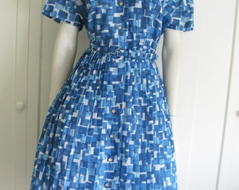 Vintage 1950's Shirt Waist Dress - Blue Novelty Print  - Waist 27""