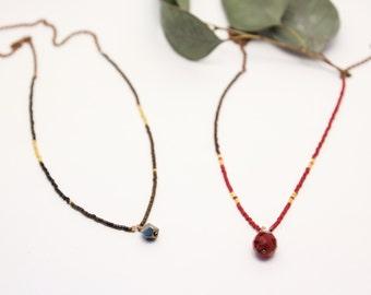 Collier man red miyukis beads