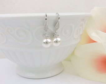 FREE US Ship Sterling Silver Swarovski Pearl And Cubic Zirconia Bridal Earrings Classic Pearl Bridal Earrings Pearl Earrings & CZ Deco Caps