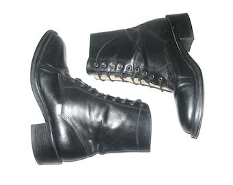 Vintage Gap Made In Brazil Black Laced Up Above Ankle Chunky Hard Heels Granny Grunge Riding Hipster Boho Combat Leather Boots Size 6 1/2 M