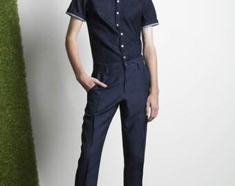 Mens Shirt Mens Blue Button Down Button Up Short Sleeve Shirt