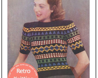 Women's Fair Isle Sweater 1940's Vintage Knitting Pattern - PDF Instant Download