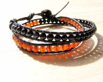 Leather Double Wrap Bracelet Carnelian and Onyx