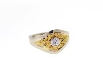 Custom Diamond & Mariposa Gold Nugget Engagement Ring, Natural California Gold Nugget Ring, Ladies Nugget Ring
