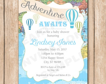 Air Balloon Adventure Baby Shower Invitation | Map, World Traveler, Neutral, Boy, Vintage - 1.00 each printed or 12.00 DIY file