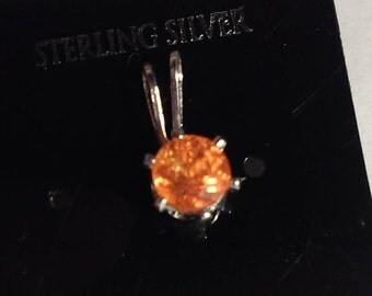 4mm Natural Spessartite Garnet Sterling Silver Petite Pendant   925 Sterling Jewelry Pendant