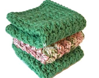 Handmade Dish Cloths Mint Green Pink Pastel Wash Cloths Crochet Kitchen Dishcloths Eco Friendly Cotton Shabby Set of 3