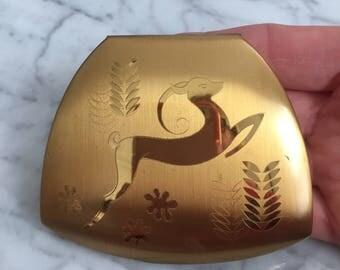 Elgin American Gazelle Powder Compact - Romantic Gift - Vanity - Dresser - Mirror - Art Deco
