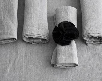 "Set of 4 natural rough historical linen napkins- kitchen table serving favor- eco friendly- handmade- size 17""x17"""