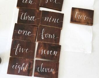 Wood Block Table Numbers / Self-Standing Rustic Wood Table Numbers / Handwritten Calligraphy Table Numbers on Wooden Blocks