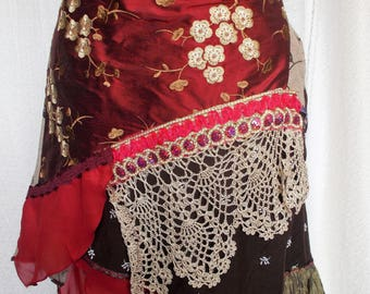 Art to wear Handmade Cherry Blossom skirt  Bohemian Gypsy Shabby Chic Romantic Patchwork Fantasy Unique Hand Made Wearable Art