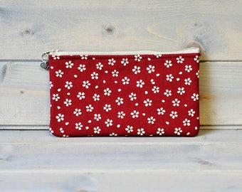 Cotton Pencil Case, Zipped Pouch, Make Up Bag, Small Accessory Bag, Pencil Pouch, Stationery Holder, Coin Purse, Wallet, Red White Flower