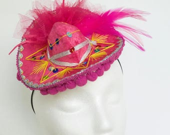 Custom Mini Sombrero Hat Hot Pink Mini Mexican Hat Bright Pink Mariachi Charro Cinco De Mayo Hat Pink Fiesta Hat Made To Order FREE USA SHIP