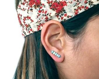 Ear Climbers, Turquoise Ear Climbers, Ear Sweeps, Ear Crawlers, Earring Pins, Turquoise Earrings, Chrysoprase Studs, Chrysoprase Earrings