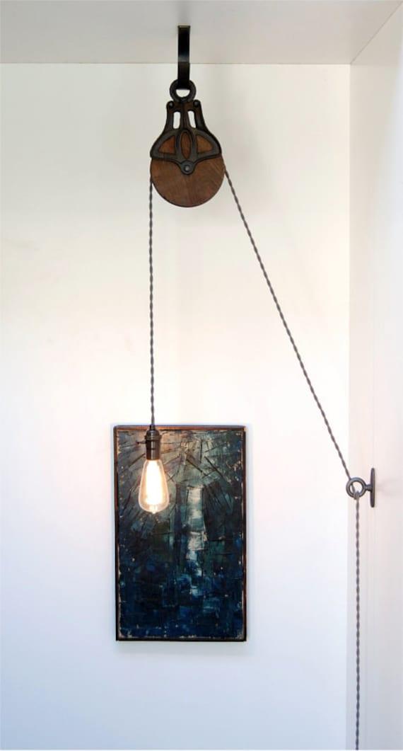 diy kit voor antieke gietijzeren houten katrol lamp. Black Bedroom Furniture Sets. Home Design Ideas