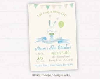 Bunny Birthday Invitation, Some Bunny birthday Party, Easter Birthday Invitation, Boy Bunny Invitation DIGITAL FILE