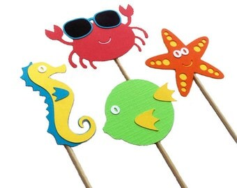 Under the Sea Cupcake Toppers, Sea Life Cupcake Toppers, Under the Sea Party Decor,