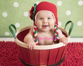 Newborn Christmas - First Christmas - Christmas Hat - Baby Girl Hat - Newborn Girl - Girl Photo Props - Baby Girl Props - Ear Flap Beanie