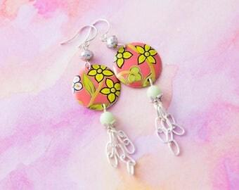 Flower Chain Tassel Earrings with Mint Green Beads, Yellow Flower Earrings, Flower Jewelry, Chain Tassel Jewelry, Boho Chic Jewelry