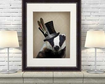 Badger lover gift Badger gift badger picture - Badger in Top Hat - badger painting badger illustration badger decor badger print wall art