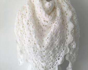 Handmade Crochet shawl white