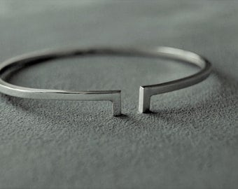 Silver Bangle, Sterling Silver Bangle, Open Silver Cuff, Handmade Bangle, Small Silver Bangle, Gifts for her.