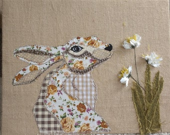 Rustic country chic free motion embroidered patchwork rabbit canvas