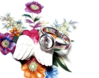UK size U, US size 10.3, sterling silver ring gem stone, gem ring silver Gr. 63 1/2
