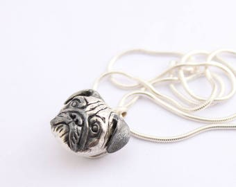 Pug Pendant Necklace and chain 925 Sterling Silver