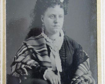 Different Worlds - 1870's Fancy Woman Wearing An Indian Blanket Tintype Photograph - Free Shipping