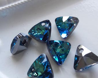 Swarovski Crystal Bermuda Blue 8mm Triangle Pendants 6pc Jewelry & Beading Supplies