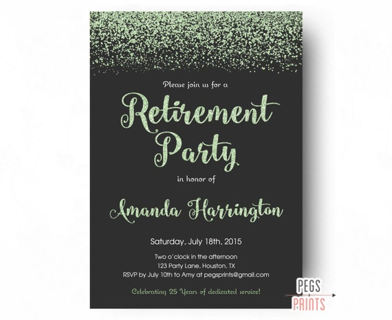 Mint Glitter Retirement Party Invitation Retirement Party – Printable Retirement Party Invitations