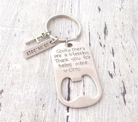 personalized bottle opener godfather keychain godparent. Black Bedroom Furniture Sets. Home Design Ideas