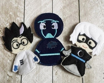Bedtime, Pj Villains Inspired Finger Puppets, Felt Travel Toy, Puppet, Pretend Play, Imagination  SET OF THREE Save 25% When bought as a set