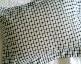 White and Blue Checked Pillow